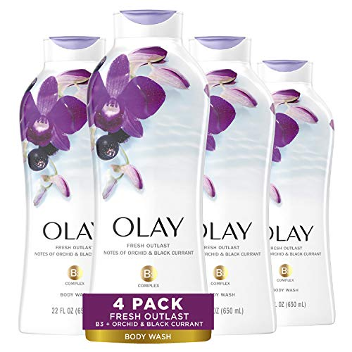 Olay Fresh Outlast Soothing Orchid & Black Currant Body Wash 22 oz, (4 Count)
