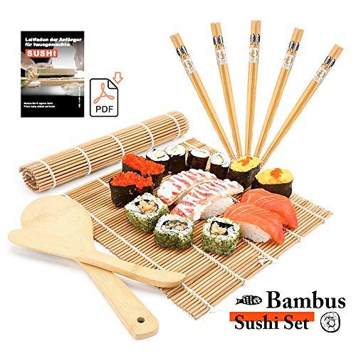 MUDEELA Sushi Set, Bambus Sushi Matte, Sushi Maker für Anfänger, karbonisierte Sushi Rollmatte, 2 Rollmatten - 5 Paar Essstäbchen - 1 Reisstreuer - 1 Paddel - 1 Anfängerleitfaden (.PDF-Datei)