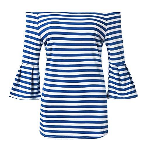 OverDose Boutique Damen Off-Shoulder Trägerlos 3/4-Arm Flare Ärmeln Gestreift Stretch Freizeit T-Shirt Oberteile Blusen Tunika Tops (Blau,EU 34/CN S)