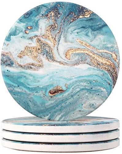 HAOCOO 4 Stück Runden Getränk Untersetzer - Saugfähiger Stein Untersetzer Set mit Korkboden und Keramik Stein, Dekorativ Untersetzer für Arten von Bechern und Tassen (Meeressand)