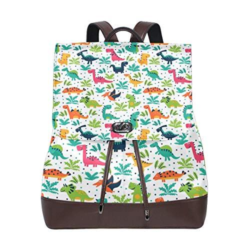 Yuanmeiju Leather Backpack Rucksack Cute Cartoon Dinosaur Pattern Daypack Bags for Girls Boys