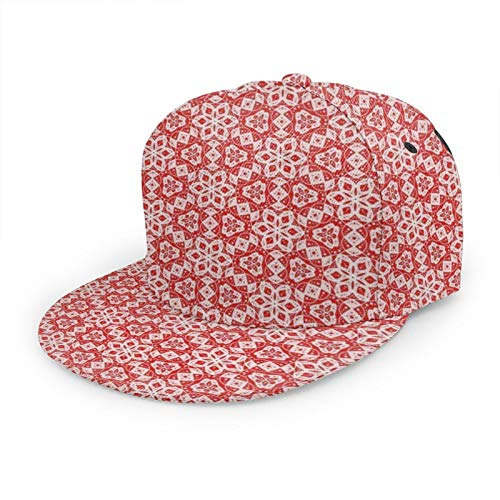 Unisex-Baseballkappe, Hip-Hop, Snapback, flacher Hut, modischer Sonnenhut für Outdoor-Aktivitäten, leuchtend Rot und Kaugummirosa, Mini-Mandala, gepunktetes Blumenmuster