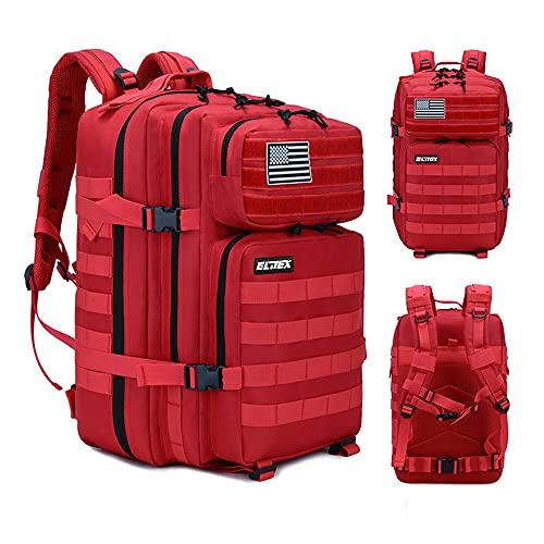 Mochila 45L Táctica Militar Bandera USA Impermeable para Crossfit Caza Aire Libre Deportes Gimnasio Portatil Oxford 900D (Rojo)