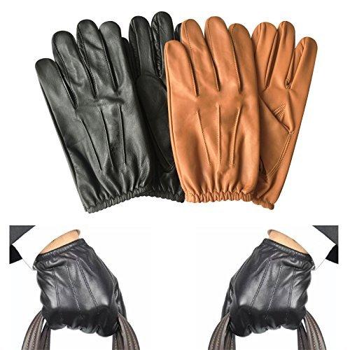 Prime Klassische Herren Police Handschuhe Enge Passform Taktisch Kleid-handschuh Chauffeur Echte Cow Nappa Leder 083 - 083-schwarz, Medium