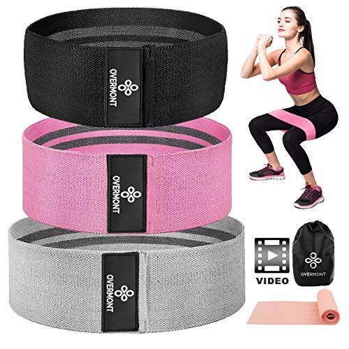 Overmont Fitnessband Set Resistance Band Trainingsband Yogaband Widerstandband mit 3 Verschiedene Zugkraftstärken Unterstützung für Beintraining, Krafttraining und Klimmzüge
