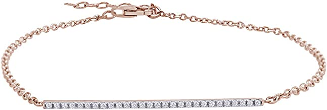 Aria Jewels Natural Diamond Accent Bar Bracelet with Micro Pave Setting in Sterling Silver (0.07 Cttw, I-J Color, I2-I3 Clarity)