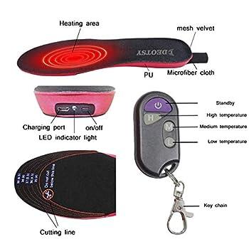 Semelle intérieure chauffante rechargeable avec interrupteur à télécommande chauffe-pied sans fil pour chasse pêche randonnée camping unisexe
