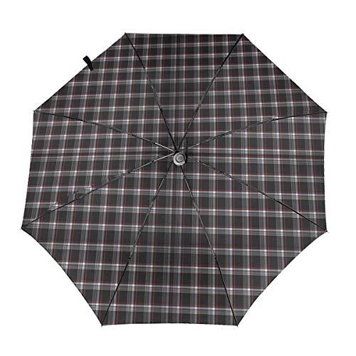 Golf GTI Plaid Automatischer Klappschirm Dreifach gefalteter Sonnen-UV-Schutz Klarer Regenschirm