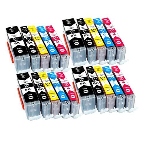 CMDZSW Cartucho de Tinta Compatible para PGI-570XL PGI570 570XL PGI-570 CLI-570 CLI-571 para Canon PIXMA MG5750 MG5751 MG5751 MG5753 MG6850 Impresora (Color : PGI570 4SET)
