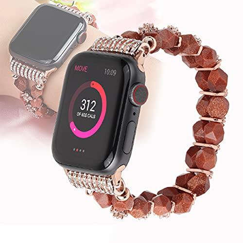 Pulsera De Perlas Compatible con Apple Watch Band Mujer Niña, Linda Correa De Cuentas Elástica Hecha A Mano De Moda Compatible con Iwatch 4/3/2/1,42mm/44mm