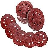 Discos de Lija, 120 Piezas 125 mm (5') a 8 agujeros, 24*(grano 60/80/120/180/240), Carburo de Silicio, para Makita,...