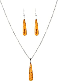 Women Silver Plated Crystal Pendant Necklace Earrings Set Round Jewelry Set,Colour:Orange (Color : Orange)