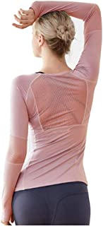 Melana Women's Long Sleeve Workout Shirts | Yoga Sports T-Shirt Activewear with Thumb Hole - Mesh Top Underscrub Tee - Lig...