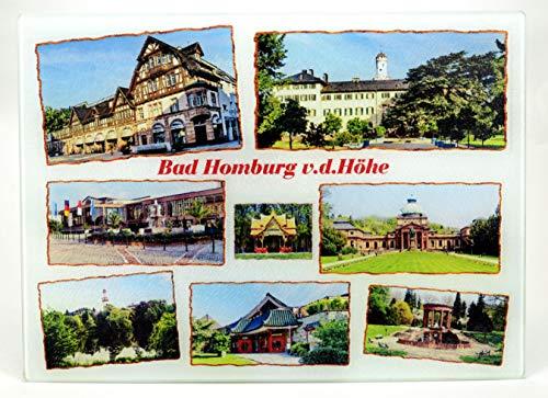 Bedrucktes Glasschneidebrett - Motiv mit verschiedenen Fotos der Kurstadt Bad Homburg vor der Höhe in 2 verschiedenen Größen