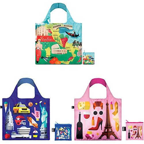 LOQI A72347 Urban Hey Studio Reusable Shopping Bags, Set of 3, Italy, New York, Paris