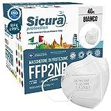 40 Mascherine FFP2 Certificate CE Made in Italy Bianche e logo SICURA impresso BFE ≥99% Mascherina ffp2 italiana SANIFICATA e sigillata singolarmente. Pluri certificata ISO 13485 e ISO 9001