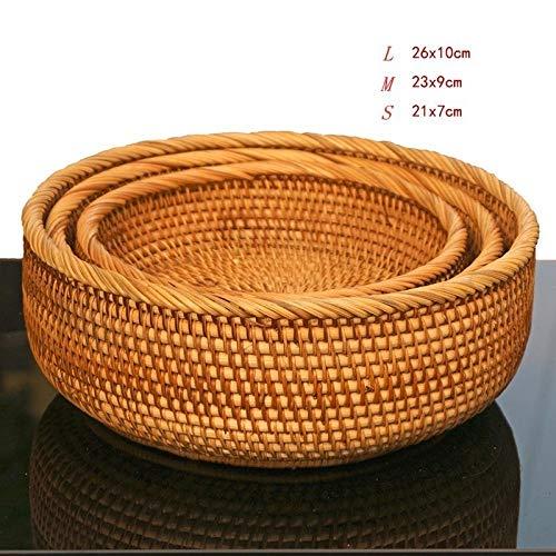 ASADVE Cesta De Mimbre Tejida Hecha A Mano De Bambú Natural Conjunto Redondo Contenedor De Almacenamiento Creativo Fruta-Conjunto Redondo