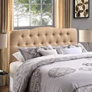 Modway Annabel Tufted Button Linen Fabric Upholstered Full Headboard in Beige