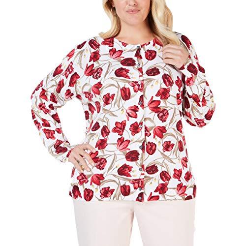 Karen Scott Womens Plus Tulip Floral Button-Down Cardigan Top Red 2X