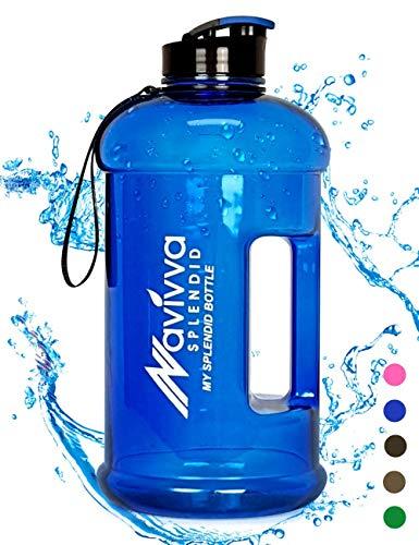 NAVIVVA SPLENDID Sport Trinkflasche Groß - 2.2 L Fitness Wasserflasche - Große XXL Sportflasche - Gym Water Bottle - BPA Frei - Easy Drink Cap – Spülmaschinenfest (Blau)
