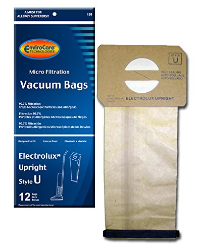 EnviroCare Replacement Micro Filtration Vacuum Cleaner Dust Bags made to fit Electrolux Upright Style U and ProTeam Prolux, ProCare & ProForce Uprights 12 pack