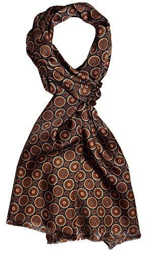 Lorenzo Cana - Herren Schal 100% Seide in harmonischen Braun Farben bedruckt doppellagig Seidenschal Seidentuch Tuch Dandy Style 30 cm x 160 cm - 8920511
