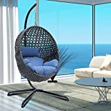 Egg Chair X-Large Outdoor Indoor Hanging Egg Chair with Stand Rattan Wicker Porch Swing with UV Resistant Blue Cushion Chair Swing for Patio Bedroom Balcony (Grey)