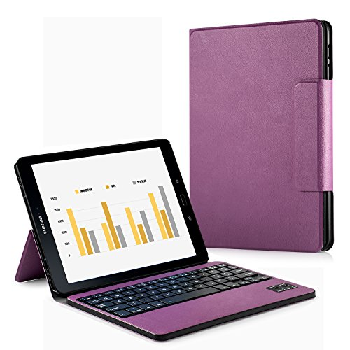 Samsung Galaxy Tab S3 9.7 Keyboard Case, HowiseAcc Case Cover for Galaxy Tab S3 9.7 SM-T820 / T825 Tablet with Detachable Wireless Bluetooth Keyboard - Purple