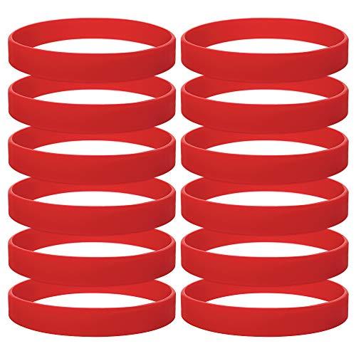 Gogo 12 Piezas de Pulseras de Goma para Adultos, Pulseras de Silicona, Accesorios de Fiesta, Brazalete Elastica de Multicolor - Rojo
