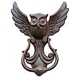 DSFSAEG Llamador de puerta de hierro fundido con diseño de búho, estilo vintage, color marrón (1)