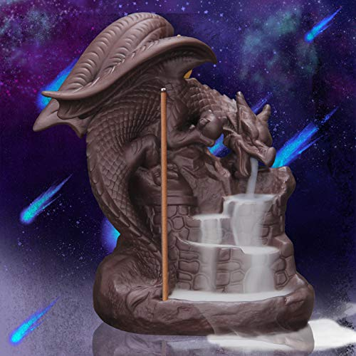 Fly Dragon Backflow Incense Burner with 10 PCS Backflow Incense Cones, Waterfall Incense Holders Home Decor Gift Decorations Statue Ornaments