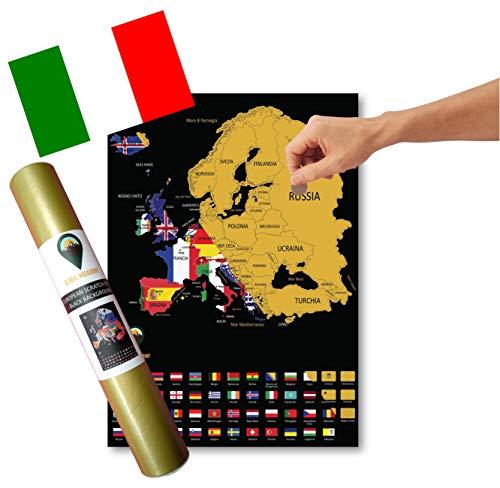 Global Walkabout ITALIANO - Mappa gratta e vinci con sfondo Bandiere - Manifesto Della Mappa EUROPA Deluxe - Paesi E Fatti - Regalo Di Viaggio (Nero)