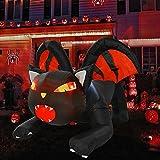 YQing 150cm Inflable Halloween de gato Exterior Decoración, Gigante hinchable gato de vampiro con luces LED incorporadas hinchable halloween para patio, césped, jardín, fiesta