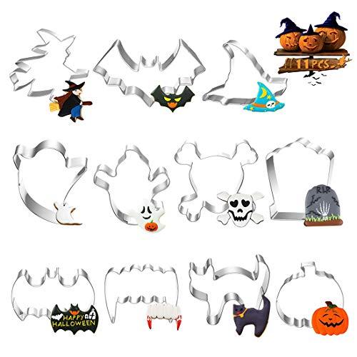 Formine Biscotti Halloween, 11 Pezzi Stampi Biscotti Halloween, Tagliabiscotti di Halloween Biscotti Bakeware Fondente Paletta Tagliapasta Set - Acciaio Inossidabile