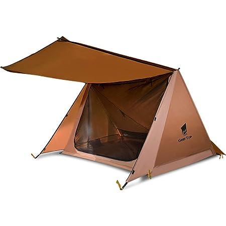 GeerTop パップテント 2人用 ポーランド 軍幕 超軽量シェルター アウトドア キャンプ テント 210×125cm