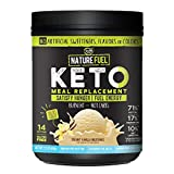 Nature Fuel Keto Meal Replacement Powder - Gluten Free with Coconut Oil MCTs and Grass-Fed Butter - Creamy Vanilla Milkshake - 14 Servings - Pantry Friendly, 17.1 Fl Oz