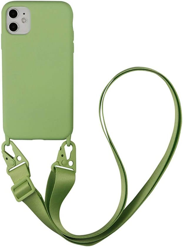 Arlgseln Case for iPhone 11 Pro, Soft TPU Phone Case with Adjust Lanyard Crossbody Case Necklace Phone Back Cover for iPhone 11 Pro Max (Green, 11)