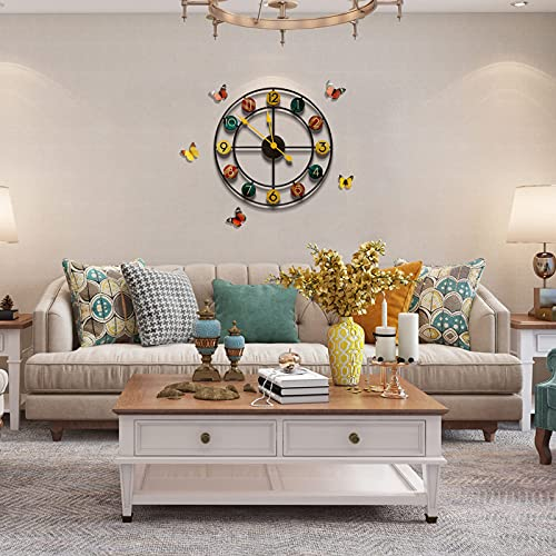 YIJIDECOR Relojes de pared grandes y modernos para decoración de sala de estar, espacio libre, gran silencioso, reloj de pared decorativo para baño, gigante, único, cocina,...