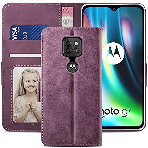 YATWIN Funda Motorola Moto G9 Play, Cuero Premium Flip Folio Carcasa para Moto G9 Play, Soporte Plegable, Ranura para Tarjeta, Cierre Magnético, Funda Libro para Motorola Moto G9 Play, Vino Rojo