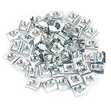 Akozon 50 unids Acero al carbono Deslizante Tuerca para ranura en T para Serie 20 Accesorios de Perfil de Aluminio M6 * 10 * 5 tipo UE