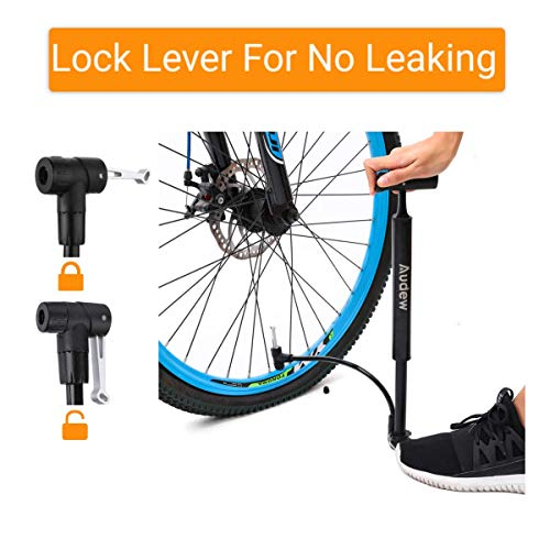 Audew Mini Fahrradpumpe 160PSI/11bar Fahrradluftpumpe Tragbare Mini Pumpe Presta&Schrader Ventil Rahmenpumpe {mit Reifenreparaturset } für Fahrrad, Ball, aufblasbares Spielzeug - 4
