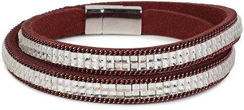 styleBREAKER Wickelarmband mit edlem Strass und Gliederkette, Magnetverschluss Armband, Glitzersteine, Damen 05040039, Farbe:Bordeaux-Rot