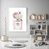 Affiches et impressions de bouteilles de parfum de pivoines roses sur toile, peinture murale, images de gravure pour salon décor 40x50cm