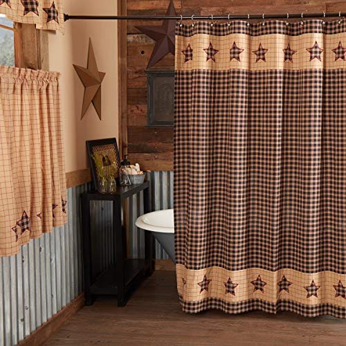 VHC Brands Bingham Star Shower Curtain 72x72 Country Patchwork Design, Soft Black and Tan