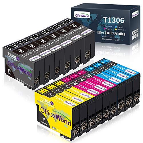 OfficeWorld T1306 Tintenpatronen Ersatz für Epson T1301 T1302 T1303 T1304 Kompatibel mit Epson Stylus SX525WD BX525WD BX535WD BX625FWD BX635FWD BX320FW BX630FW WorkForce WF-7525(15-Pack)