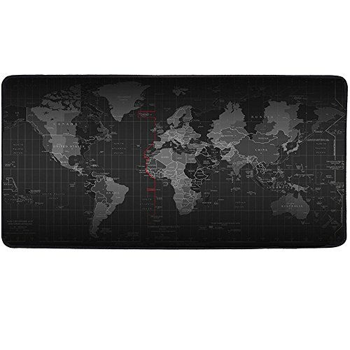 VOAVGE Mouse XXL Ufficio mausmatte grande tappetino mouse, 900 X 400 mm Dimension – (World Map Pattern) di base in gomma antiscivolo