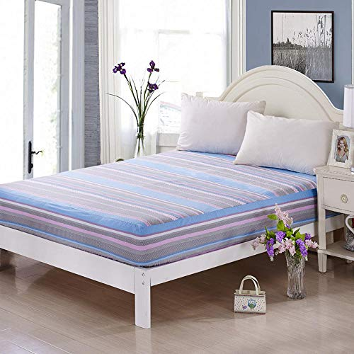 lhmlyl Matresss Protectorbed Cover Cotton Single Piece Bed Cover Cotton Mattress Cover Mattress Cover Thickened Non-Slip Bed Cover-Love The Future-Blue_180-200