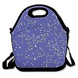 geckor Astronomy Science Names Lunch Tote Bags Sac de Pique-Nique de Voyage Sac à Lunch isolé avec bandoulière pour Femmes Adolescentes Filles Adultes