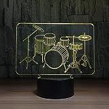 A-Generic Lámpara de ilusión 3D LED Noche Luz de Noche Novedad Drum Set Falda Instrumentos Lámpara de Mesa Nursery Mesa de Noche Música Cumpleaños 16 Color