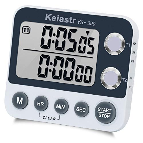 Digital Kitchen Timer Magnetic Back,Cooking Timer,Large Display Loud Alarm Count-Up & Count Down Dual Timer for Cooking Baking,Volume Adjustable,ON/OFF Switch,Battery Including